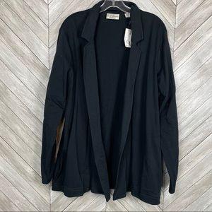 NWT Black Open Sweatshirt Cardigan blazer 14/16
